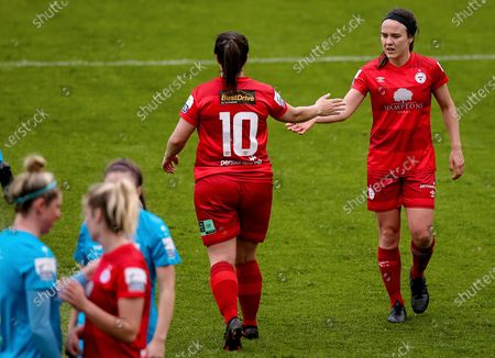 Shelbourne vs DLR Waves. Shelbourne's Noelle Murray and Ciara Grant celebrate at the final whistle