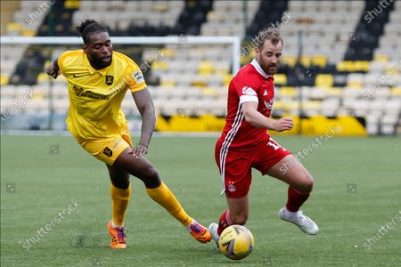 Aberdeen's Niall McGinn (10) and Jay Emmanuel-Thomas (9) of Livingston battles for possession, tussles, tackles, challenges, during the Scottish Premiership match between Livingston and Aberdeen at Tony Macaroni Arena, Livingstone