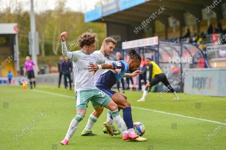Wycombe Wanderers Gareth McCleary (19) battles for possession with AFC Bournemouth's Rodrigo Riquelme (20) and AFC Bournemouth's Jack Wilshere (11) during the EFL Sky Bet Championship match between Wycombe Wanderers and Bournemouth at Adams Park, High Wycombe