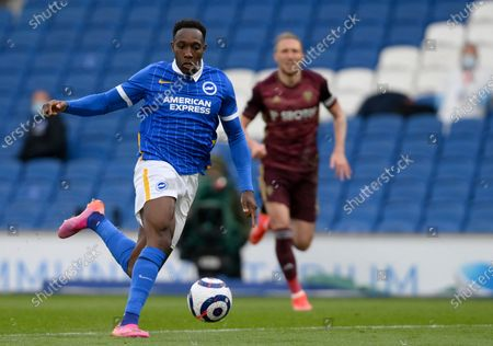 Brighton's Danny Welbeck controls the ball during the English Premier League soccer match between Brighton and Hove Albion and Leeds United at the Falmer stadium in Brighton, England