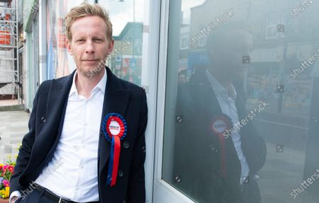 Laurence Fox. London mayoral candidate and Reclaim Party leader Laurence Fox visiting Sidcup in South East London today with Reform UK Party leader Richard Tice.