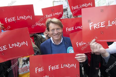 Richard Tice. London mayoral candidate and Reclaim Party leader Laurence Fox visiting Sidcup in South East London today with Reform UK Party leader Richard Tice.