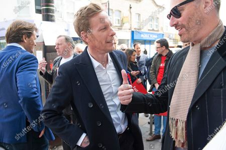 Laurence Fox on the mayoral campaign trail. London mayoral candidate and Reclaim Party leader Laurence Fox visiting Sidcup in South East London today with Reform UK Party leader Richard Tice.