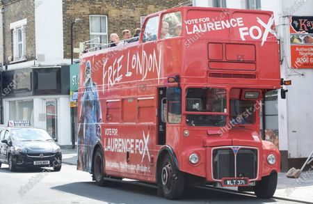 The Reclaim Party bus. London mayoral candidate and Reclaim Party leader Laurence Fox visiting Sidcup in South East London today with Reform UK Party leader Richard Tice.