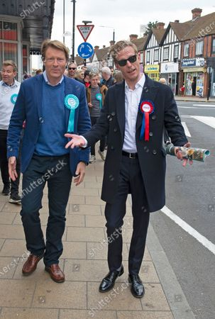 London mayoral candidate and Reclaim Party leader Laurence Fox visiting Sidcup in South East London today with Reform UK Party leader Richard Tice.