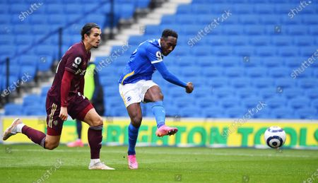 Danny Welbeck (R) of Brighton scores the 2-0 during the English Premier League soccer match between Brighton Hove Albion and Leeds United in Brighton, Britain, 01 May 2021.