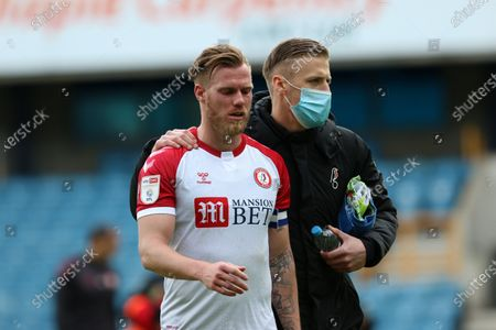 Tomas Kalas of Bristol City comes off after full time looking disappointed with Daniel Bentley of Bristol City by his side during Millwall vs Bristol City, Sky Bet EFL Championship Football at The Den on 1st May 2021