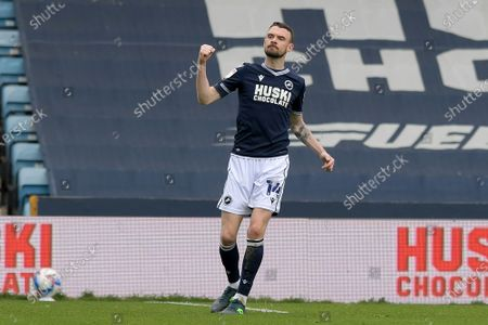 GOAL Scott Malone of Millwall scores his teams second goal during the Millwall vs Bristol City, EFL Championship Football match at the New Den London held behind closed doors.