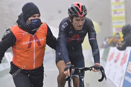 Britain's Geraint Thomas of Ineos Grenadiers reacts after crossing the finish line during the fourth stage of the 74th Tour de Romandie cycling tour, a 161.3 km race from Sion to Thyon-Les Collons, Switzerland, 01 May 2021.