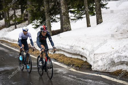 Canadian rider Michael Woods (L) of Israel Start-Up Nation and Britain's Geraint Thomas of Ineos Grenadiers in action during the fourth stage of the 74th Tour de Romandie cycling tour, a 161.3 km race from Sion to Thyon-Les Collons, Switzerland, 01 May 2021.