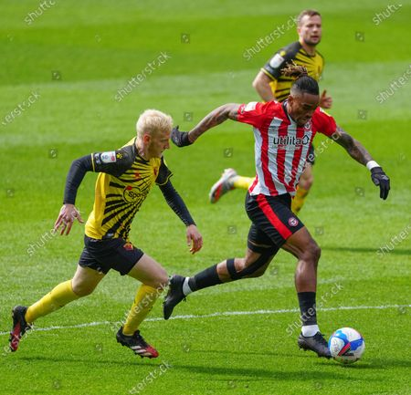 Stock Picture of Ivan Toney of Brentford with Will Hughes of Watford