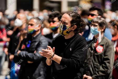 Pablo Iglesias (UP) candidate for the presidency of the Community of Madrid in the 4M elections in the workers' day demonstration called by the unions. In Madrid, Spain, on May 1, 2021.