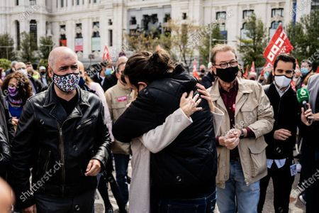 The Third Vice President and Minister of Labor, Yolanda Díaz and the candidate for the presidency of the Community of Madrid Pablo Iglesias in the workers' day demonstration called by the unions. In Madrid, Spain, on May 1, 2021.