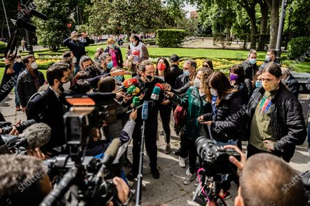 Pablo Iglesias, candidate for the presidency of the Community of Madrid for Podemos, responds to the media before starting the worker's day demonstration called by the unions. In Madrid, Spain, on May 1, 2021.