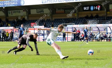 David Brooks of Bournemouth beats the Wycombe keeper David Stockdale, but misses the open goal.