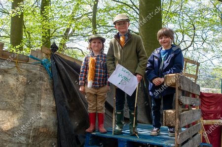 Elijah, Zachary and Noah (L to R) pay their first visit to Jones Hill Wood. HS2 have been felling beech trees  in the ancient woodland of Jones Hill Wood despite it being the bird nesting season and that rare Barbastelle bats are known to roost in the woods. The woods are said to have inspired local author Roald Dahl to write the popular children's novel, The Fantastic Mr Fox. The High Speed Rail 2 from London to Birmingham is carving a huge scar across the Chilterns