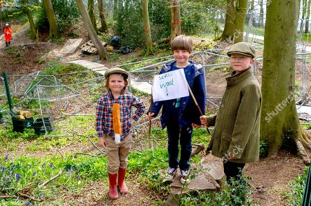 Elijah, Noah and Zachary (L to R) pay their first visit to Jones Hill Wood. HS2 have been felling beech trees  in the ancient woodland of Jones Hill Wood despite it being the bird nesting season and that rare Barbastelle bats are known to roost in the woods. The woods are said to have inspired local author Roald Dahl to write the popular children's novel, The Fantastic Mr Fox. The High Speed Rail 2 from London to Birmingham is carving a huge scar across the Chilterns