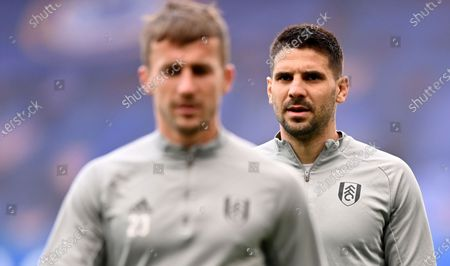 Fulham's Aleksandar Mitrovic, right, and Fulham's Joe Bryan during warm up before the English Premier League soccer match between Chelsea and Fulham at Stamford Bridge Stadium in London