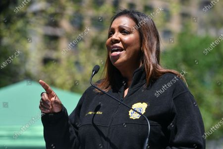 Letitia James, Attorney General of New York, speaks at the annual NYC Cannabis Parade & Rally in support of the legalization of marijuana in New York.