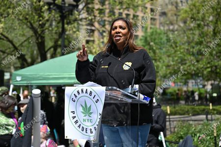Letitia James, Attorney General of New York speaks in Union Square Park during the NYC Cannabis Parade.