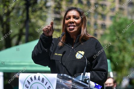 Stock Picture of Letitia James, Attorney General of New York, speaks at the annual NYC Cannabis Parade & Rally in support of the legalization of marijuana in New York.