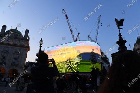 Stock Picture of People enjoy the David Hockney art installation