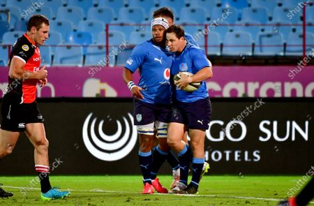 Vodacom Bulls vs Emirates Lions. Bulls' Christopher Smith celebrates after scoring a try