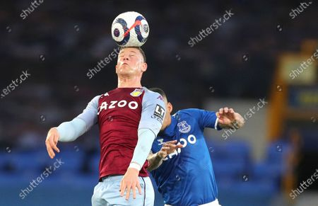 Aston Villa's Ross Barkley heads the ball during the English Premier League soccer match between Everton and Aston Villa at Goodison Park in Liverpool, England