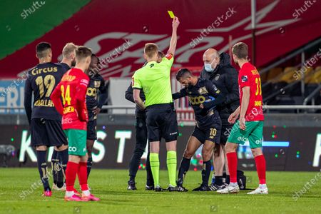 Standard's Mehdi Carcela receives a second yellow card from the referee during a soccer match between KV Oostende and Standard de Liege, Saturday 01 May 2021 in Oostende, on day 1 of 6 of the 'Europe' play-offs of the 'Jupiler Pro League' first division of the Belgian championship.
