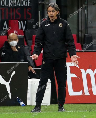 Benevento's head coach Filippo Inzaghi reacts during the Italian Serie A soccer match between AC Milan and Benevento Calcio at Giuseppe Meazza stadium in Milan, Italy, 01 May 2021.