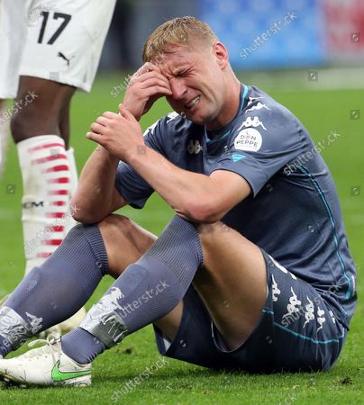 Benevento's Kamil Glik reacts during the Italian Serie A soccer match between AC Milan and Benevento Calcio at Giuseppe Meazza stadium in Milan, Italy, 01 May 2021.