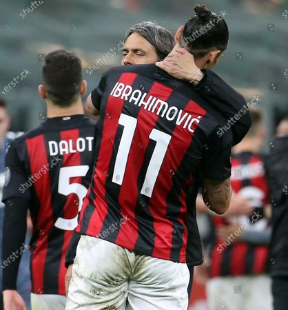 Milan's Zlatan Ibrahimovic (front) and Benevento's head coach Filippo Inzaghi (C) react after the Italian Serie A soccer match between AC Milan and Benevento Calcio at Giuseppe Meazza stadium in Milan, Italy, 01 May 2021.