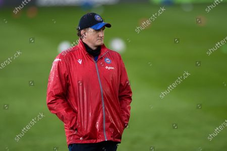 Stock Image of Bath Director of Rugby Stuart Hooper looks on prior to the match