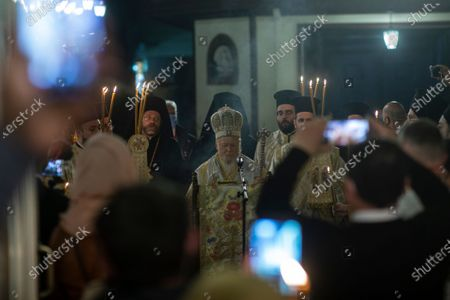 Ecumenical Patriarch Bartholomew I, the spiritual leader of the world's Orthodox Christians, conducts the Easter Resurrection Service with limited attendance as part of the measures to prevent the spread opf the coronavirus, at the Patriarchal Cathedral of St. George in Istanbul, early