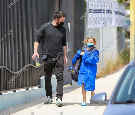 Stock Image of Ben Affleck is seen with his son, Samuel Affleck, after swim lessons