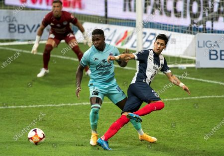 Stock Picture of Maximiliano Meza (R) of Monterrey in action against Jose Ortiz (L) of Mazatlan during the Liga MX Guard1anes Clausura Tournament 2021 Tournament soccer match, at the BBVA stadium in Guadalupe, Mexico, 01 May 2021.
