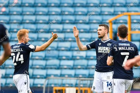 Stock Picture of Scott Malone of Millwall celebrates after scoring his team's second goal with Billy Mitchell of Millwall during the Sky Bet Championship match between Millwall and Bristol City at The Den, London on Saturday 1st May 2021.