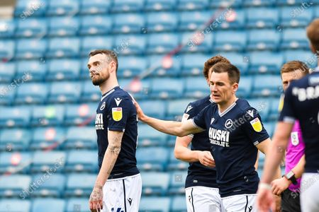 Scott Malone of Millwall celebrates after scoring his team's second goal with Jed Wallace of Millwall during the Sky Bet Championship match between Millwall and Bristol City at The Den, London on Saturday 1st May 2021.