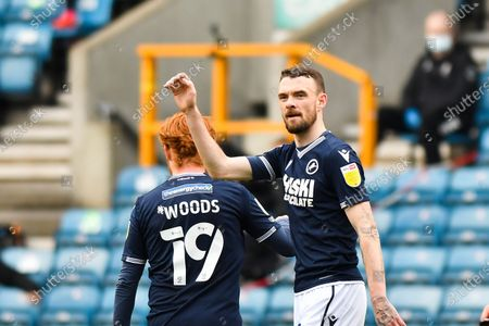 Scott Malone of Millwall celebrates after scoring his team's second goal during the Sky Bet Championship match between Millwall and Bristol City at The Den, London on Saturday 1st May 2021.