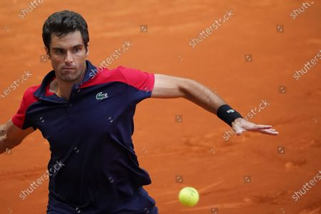 Pablo Andujar of Spain in action during his Men's Singles Qualifying match against Mikhail Kukushkin of Kazakhstan on the ATP Masters 1000 - Mutua Madrid Open 2021 at La Caja Magica on May 1, 2021 in Madrid, Spain