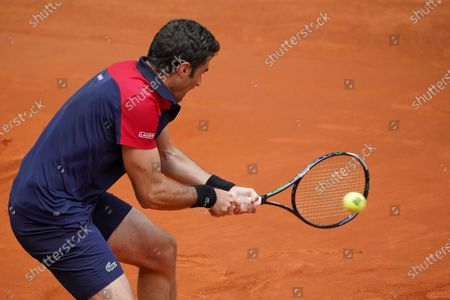 Stock Image of Pablo Andujar of Spain in action during his Men's Singles Qualifying match against Mikhail Kukushkin of Kazakhstan on the ATP Masters 1000 - Mutua Madrid Open 2021 at La Caja Magica on May 1, 2021 in Madrid, Spain