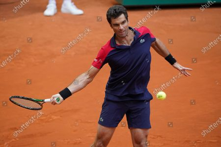 Stock Photo of Pablo Andujar of Spain in action during his Men's Singles Qualifying match against Mikhail Kukushkin of Kazakhstan on the ATP Masters 1000 - Mutua Madrid Open 2021 at La Caja Magica on May 1, 2021 in Madrid, Spain