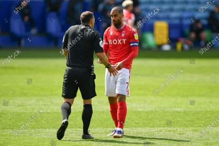Stock Image of Lewis Grabban (7) of Nottingham Forest talks with Referee, Tim Robinson during the Sky Bet Championship match between Sheffield Wednesday and Nottingham Forest at Hillsborough, Sheffield on Saturday 1st May 2021.