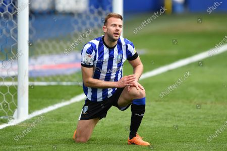 Jordan Rhodes of Sheffield Wednesday during the Sky Bet Championship match between Sheffield Wednesday and Nottingham Forest at Hillsborough, Sheffield on Saturday 1st May 2021.