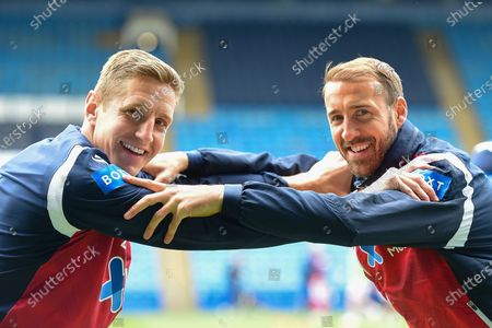 Michael Dawson (20) of Nottingham Forest and Glenn Murray (25) of Nottingham Forest  warms up ahead of kick-off during the Sky Bet Championship match between Sheffield Wednesday and Nottingham Forest at Hillsborough, Sheffield on Saturday 1st May 2021.
