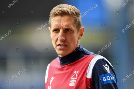 Michael Dawson (20) of Nottingham Forest warms up ahead of kick-off during the Sky Bet Championship match between Sheffield Wednesday and Nottingham Forest at Hillsborough, Sheffield on Saturday 1st May 2021.