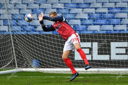 Stock Photo of Michael Dawson (20) of Nottingham Forest tries his hand in goals ahead of kick-off of the Sky Bet Championship match between Sheffield Wednesday and Nottingham Forest at Hillsborough, Sheffield on Saturday 1st May 2021.