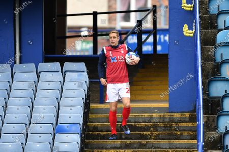 Michael Dawson (20) of Nottingham Forest retrieves a ball from the stand after missing the goal during the Sky Bet Championship match between Sheffield Wednesday and Nottingham Forest at Hillsborough, Sheffield on Saturday 1st May 2021.