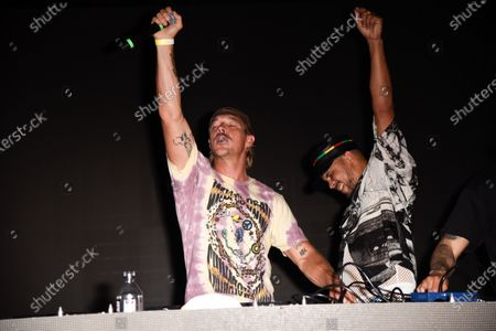 Thomas Wesley Pentz, known as Diplo, left, and Leighton Paul Walsh, known as Walshy Fire of Major Lazer in concert