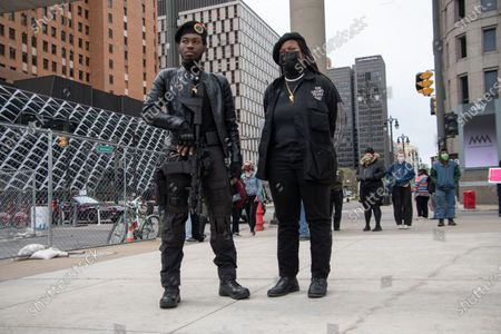 Stock Image of Members of the Young Black Panthers and We The Free People show support on May 1, 2021 as Detroit activists held multiple events for May Day demonstrations to express frustrations over workers rights issues and social injustices at home and abroad, later joining a separate rally and march calling for justice for Ma'Khia Bryant, a 16 year old Black woman killed by police in Columbus, Ohio.